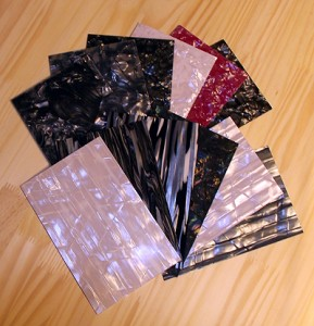 Fanned selection of Pearl drum wraps