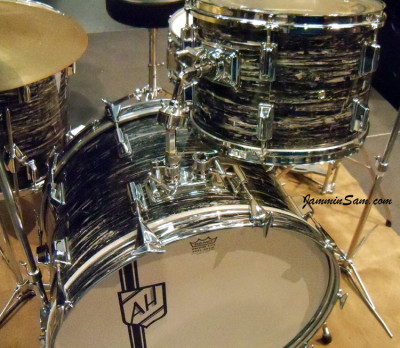 Photo of Andrew Hare's Pearl drums with 60's Black Oyster Pearl drum wrap (51)