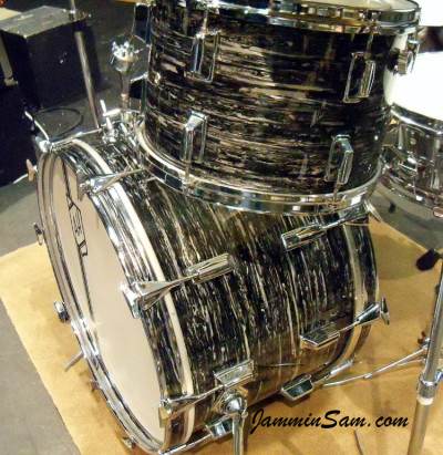 Photo of Andrew Hare's Pearl drums with 60's Black Oyster Pearl drum wrap (53)