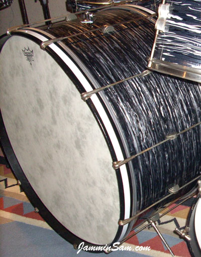 Photo of Joe Silvestro's drum with 60's Black Oyster Pearl drum wrap