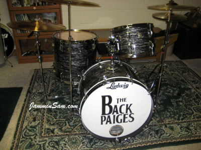Photo of Rick Flessner's Ludwig drum set with  60's Black Oyster Pearl drum wrap (36)