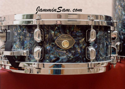 Photo of Stanley Farr's drums with Dark Abalone Pearl drum wrap (2)