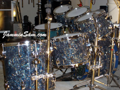 Photo of John Grupps' Tama drums with Dark Abalone Pearl (5)