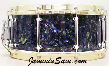 Photo of Josh Ramsey's snare with Dark Abalone Pearl drum wrap