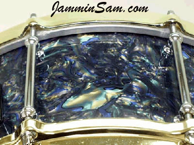 Photo of Josh Ramsey's snare drum with Dark Abalone Pearl drum wrap (1)