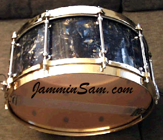 Photo of Josh Ramsey's snare drum with Dark Abalone Pearl drum wrap (2)