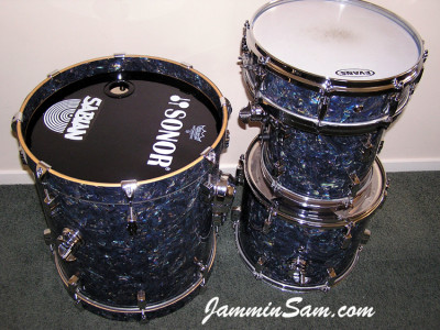 Photo of Paul Collinson's Sonor drums with Dark Abalone Pearl (2)