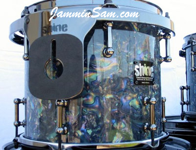 Photo of Sean Staples' custom drums with Dark Abalone Pearl drum wrap (3)