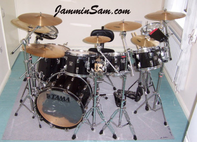 Photo of Kevin Thompson's Tama drum set with JS Hi Gloss Black drum wrap (2)