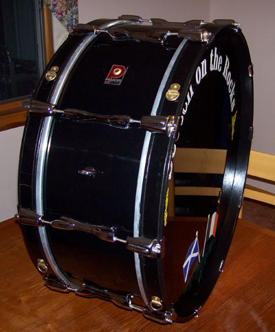 Photo of Matt Alling's bass drum with JS Hi Gloss Black drum wrap (37)