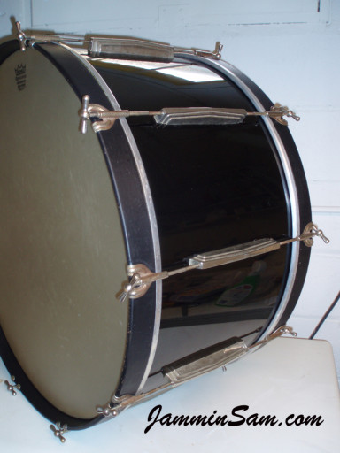 Photo of Paul Hill's bass drum with JS Hi Gloss Black drum wrap