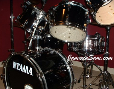 Photo of Russ DiBella's Tama drums with JS Solid Black drum wrap (2)
