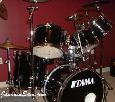 Photo of Russ DiBella's Tama drumset with JS Solid Black drum wrap