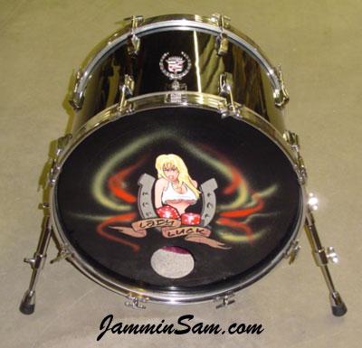 Photo of Steve Hemphill's Tama bass drum with JS Hi Gloss Black drum wrap (3)