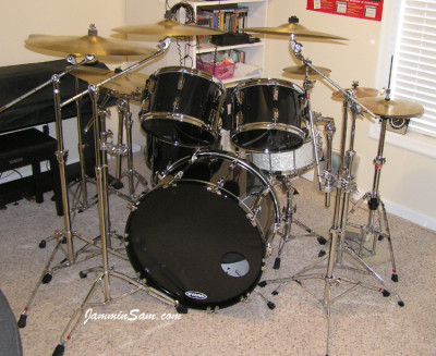 Photo of Web Tileston's set of drums with JS Solid Black drum wrap (3)