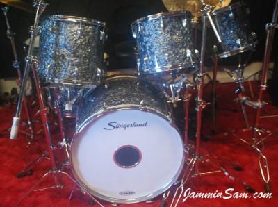 Photo of Mike Kells' Slingerland drums with Black Diamond Pearl (Old) drum wrap (64)