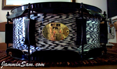 Photo of Adam Greenberg's Pork Pie snare with Vintage Black Onyx Pearl drum wrap (1)