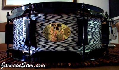 Photo of Adam Greenberg's Pork Pie snare with Vintage Black Onyx Pearl drum wrap (1)