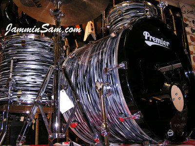 Photo of Paul Collinson's Premier drums with Retro Black Oyster Pearl drum wrap (3)