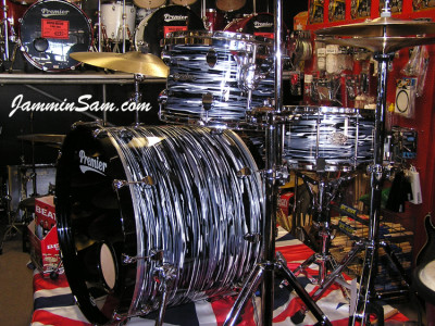 Photo of Paul Collinson's Premier drums with Retro Black Oyster Pearl drum wrap (4)