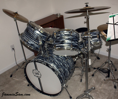 Photo of Tim Blaisdell's drum kit with Retro Black Oyster Pearl drum wrap (23)