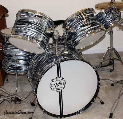Photo of Tim Blaisdell's drum kit with Retro Black Oyster Pearl drum wrap (29)