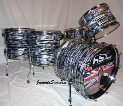 Photo of Wayne Meehan's drums with Retro Black Oyster Pearl drum wrap (3)