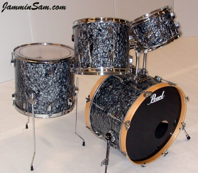 Photo of Gavin Davies' Pearl drums with 80's Black Diamond Pearl drum wrap (1)