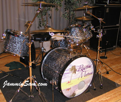 Photo of Joe Meldrum's Tama Rockstar drums with 80's Black Diamond Pearl drum wrap