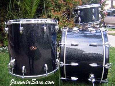 Photo of Matt North Slingerland drums with Vintage Black Sparkle drum wrap (1)