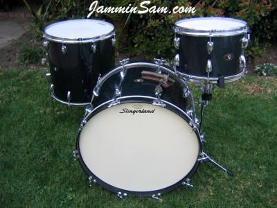 Photo of Matt North Slingerland drums with Vintage Black Sparkle drum wrap (2)