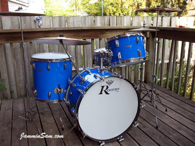 Photo of Cam Benson's Rogers Starlighter drums with JS Hi Gloss Tropical Blue (37)