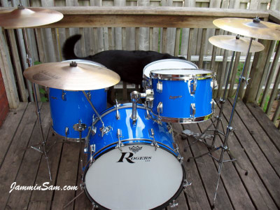 Photo of Cam Benson's Rogers Starlighter drums with JS Hi Gloss Tropical Blue  (39)