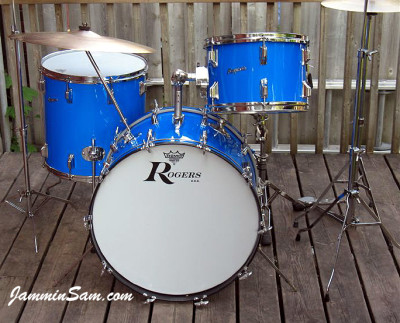 Rogers Starlighter with JS Hi Gloss Tropical Blue  Restored by Cam Benson (center front)