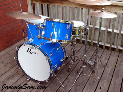 Rogers Starlighter with JS Hi Gloss Tropical Blue Restored by Cam Benson (front right)