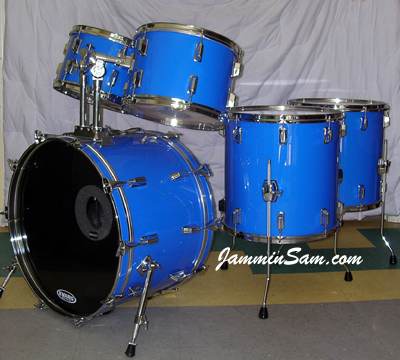 Photo of Gerard Torchio's Pearl drums with JS Hi Gloss Tropical Blue drum wrap (1)