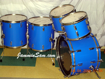 Photo of Gerard Torchio's Pearl drums with JS Hi Gloss Tropical Blue drum wrap (3)
