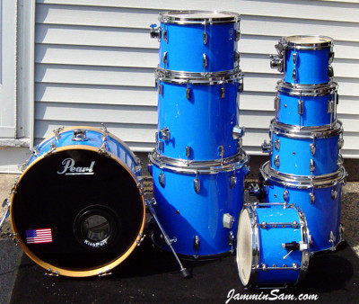 Photo of Kenneth Punt's Pearl drums with JS Hi Gloss Tropical Blue drum wrap (7)