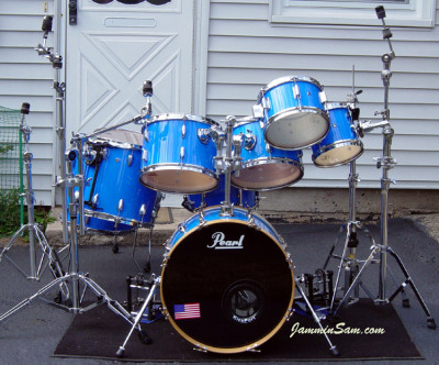 Photo of Kenneth Punt's Pearl drums with JS Hi Gloss Tropical Blue drum wrap (9)