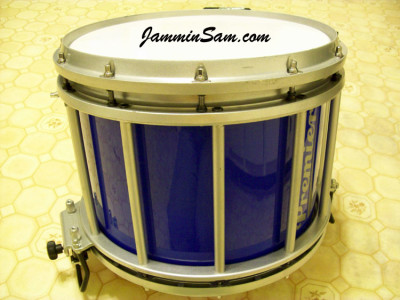Photo of Sara-jo Fegley's Premier marching drum with JS Hi Gloss Tropical Blue drum wrap (1)