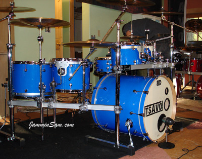 Photo of Sean Brown's drum kit with JS Hi Gloss Tropical Blue drum wrap (27)