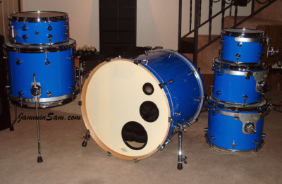 Photo of Sean Brown's drum kit with JS Hi Gloss Tropical Blue drum wrap (30)