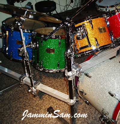 Photo of Bill Heitman's drumset including Blue Glass Glitter drum wrap (2)