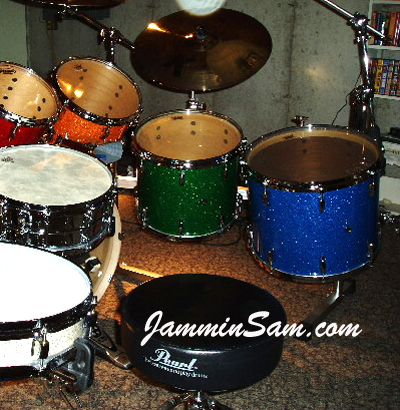 Photo of Bill Heitman's drums including Blue Glass Glitter drum wrap (5)
