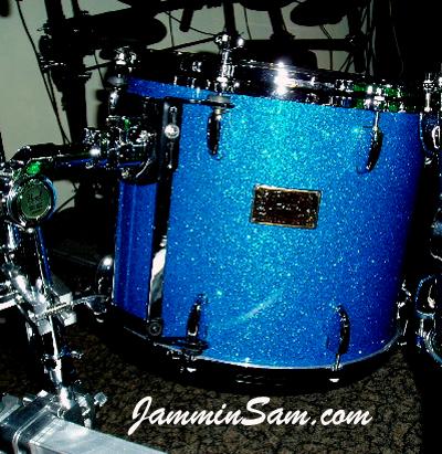 Photo of Bill Heitman's drum set with Blue Glass Glitter drum wrap (6)