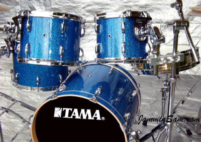 Photo of Jeff Jereza's Tama drum set with Blue Glass Glitter drum wrap (1)