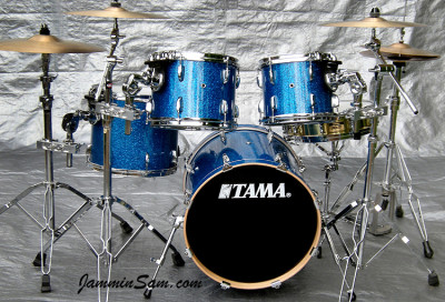 Photo of Jeff Jereza's Tama drums with Blue Glass Glitter drum wrap (2)