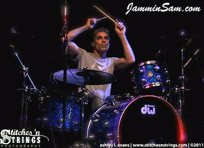 Photo of Joey Marchiano's drums with Blue Glass Glitter drum wrap (1)