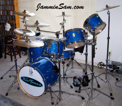Photo of John Jones' drumset with Blue Glass Glitter (1)