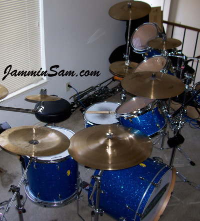 Photo of John Jones' drums with Blue Glass Glitter drum wrap (2)